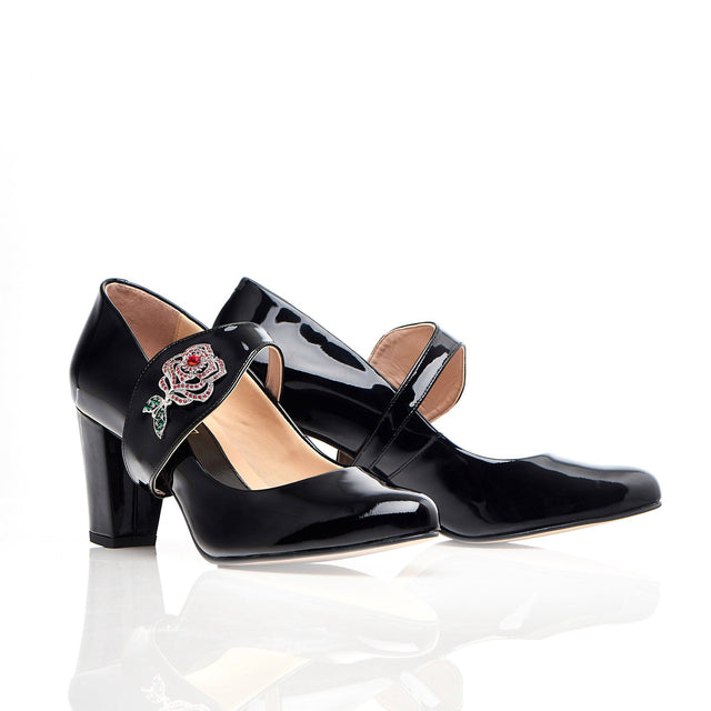 Time To Bloom - Block Heels - Black Leather - Shoes by Shaherazad