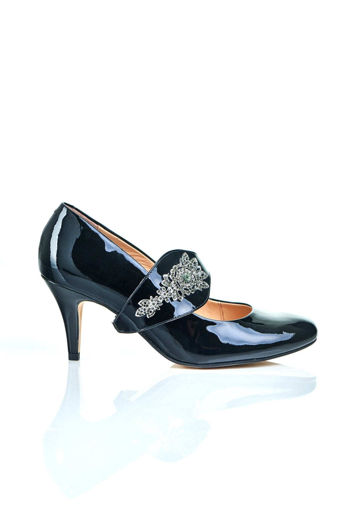 The Moon is Mine in Black Gems - 18 Hour Heels - Black Leather - Shoes by Shaherazad
