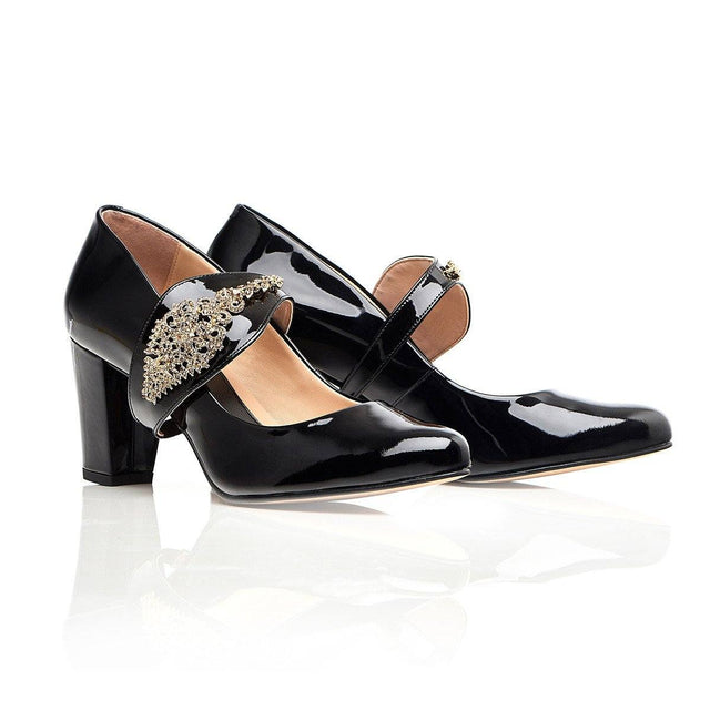 Dream Then Do in Gold - Black Block Heel - Shoes by Shaherazad