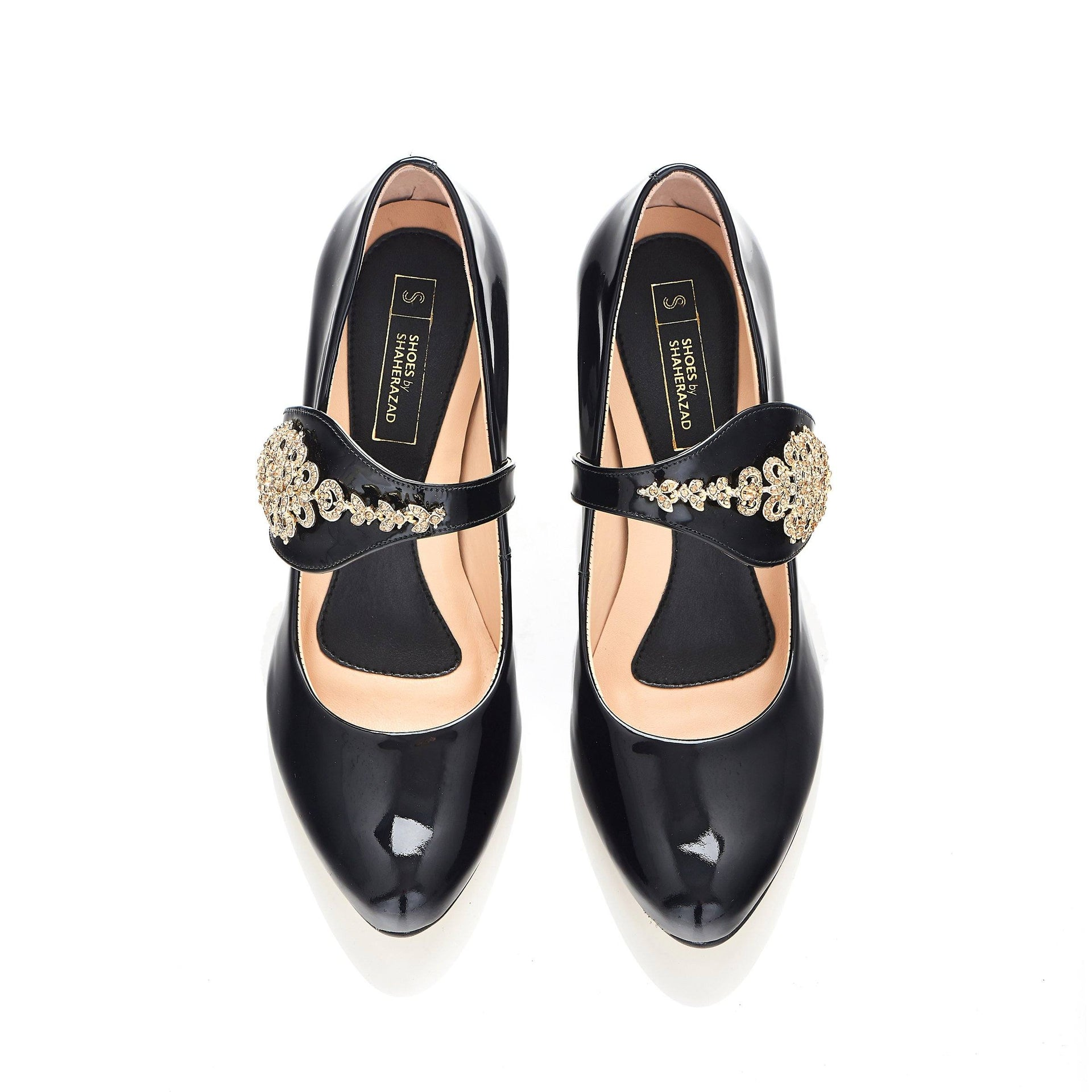 Dream Then Do in Gold Gems - Block Heels - Black Leather - Shoes by Shaherazad
