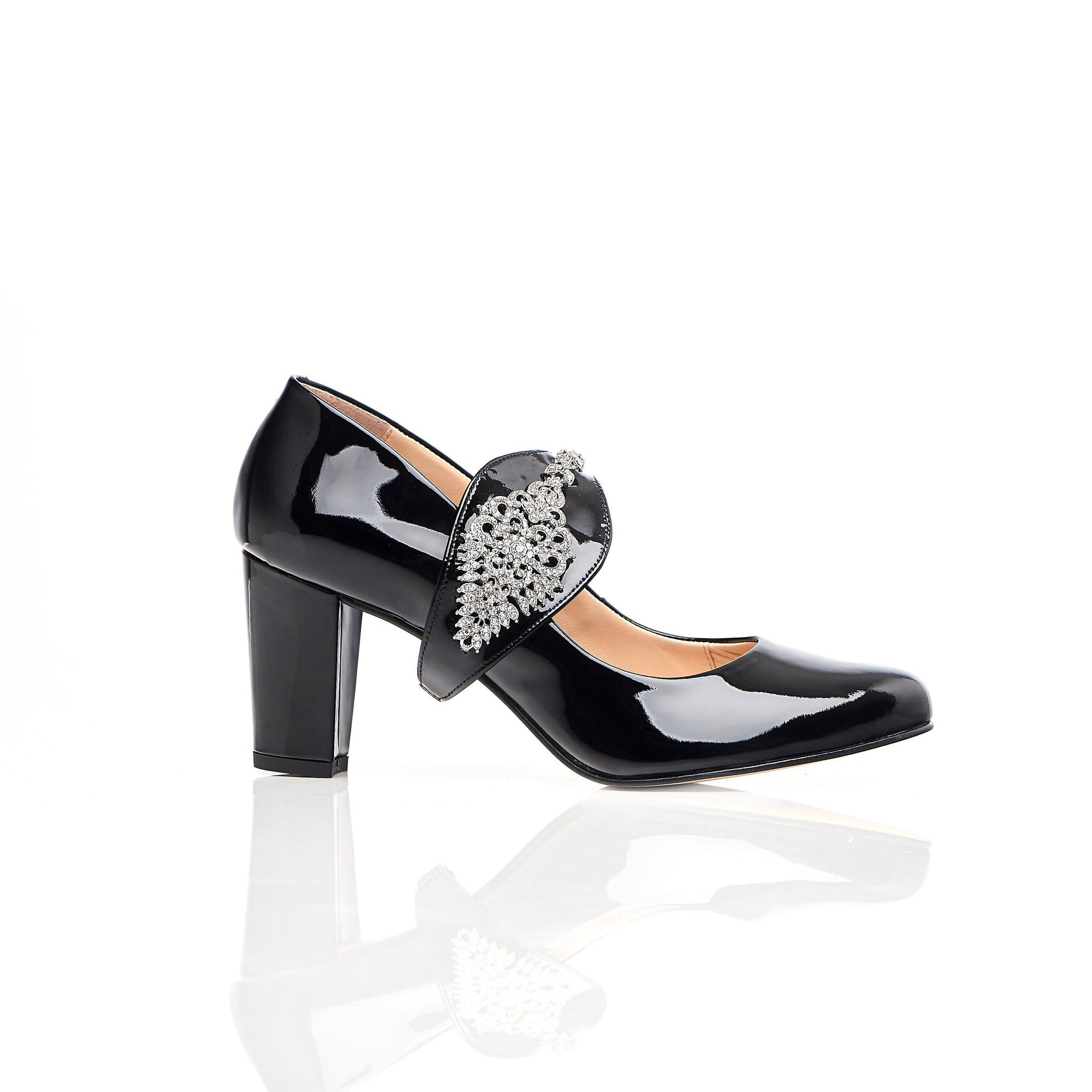 Dream Then Do in Silver Gems - Block Heels - Black Leather - Shoes by Shaherazad