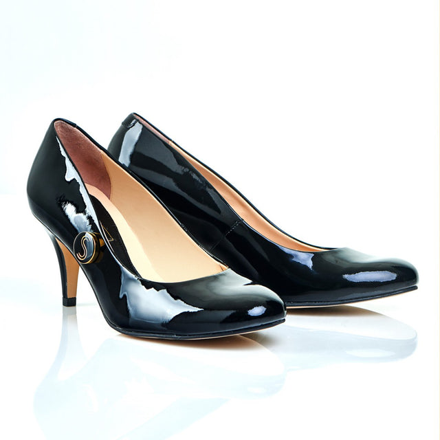 Stand Tall Sister - 18 Hour Heels - Black Leather - Shoes by Shaherazad