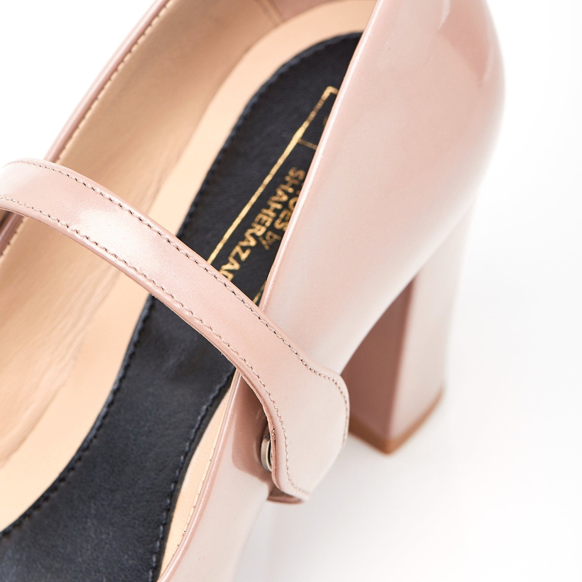 Nude Patent Block Heel Shoes