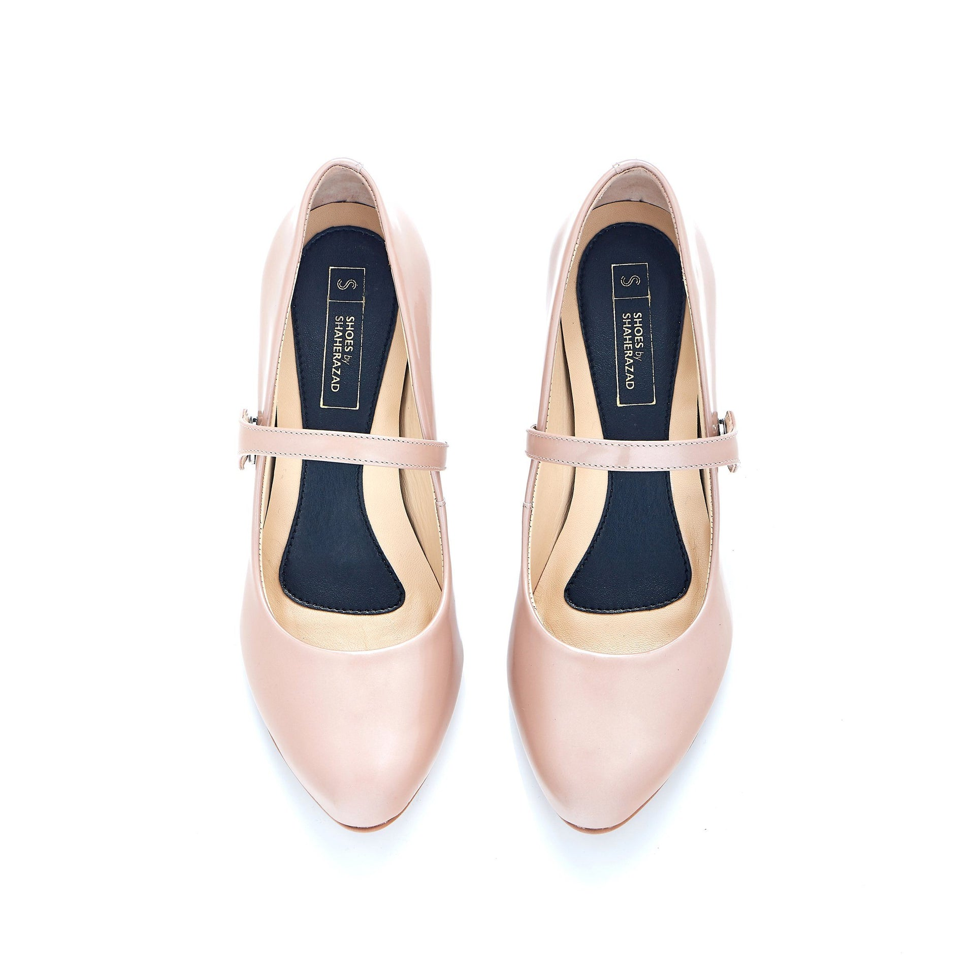 Take My Lead - Block Heels - Blush Leather - Shoes by Shaherazad