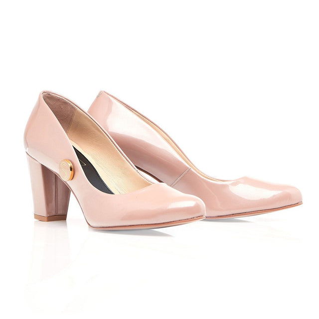 Nude Leather Patent Block Heels