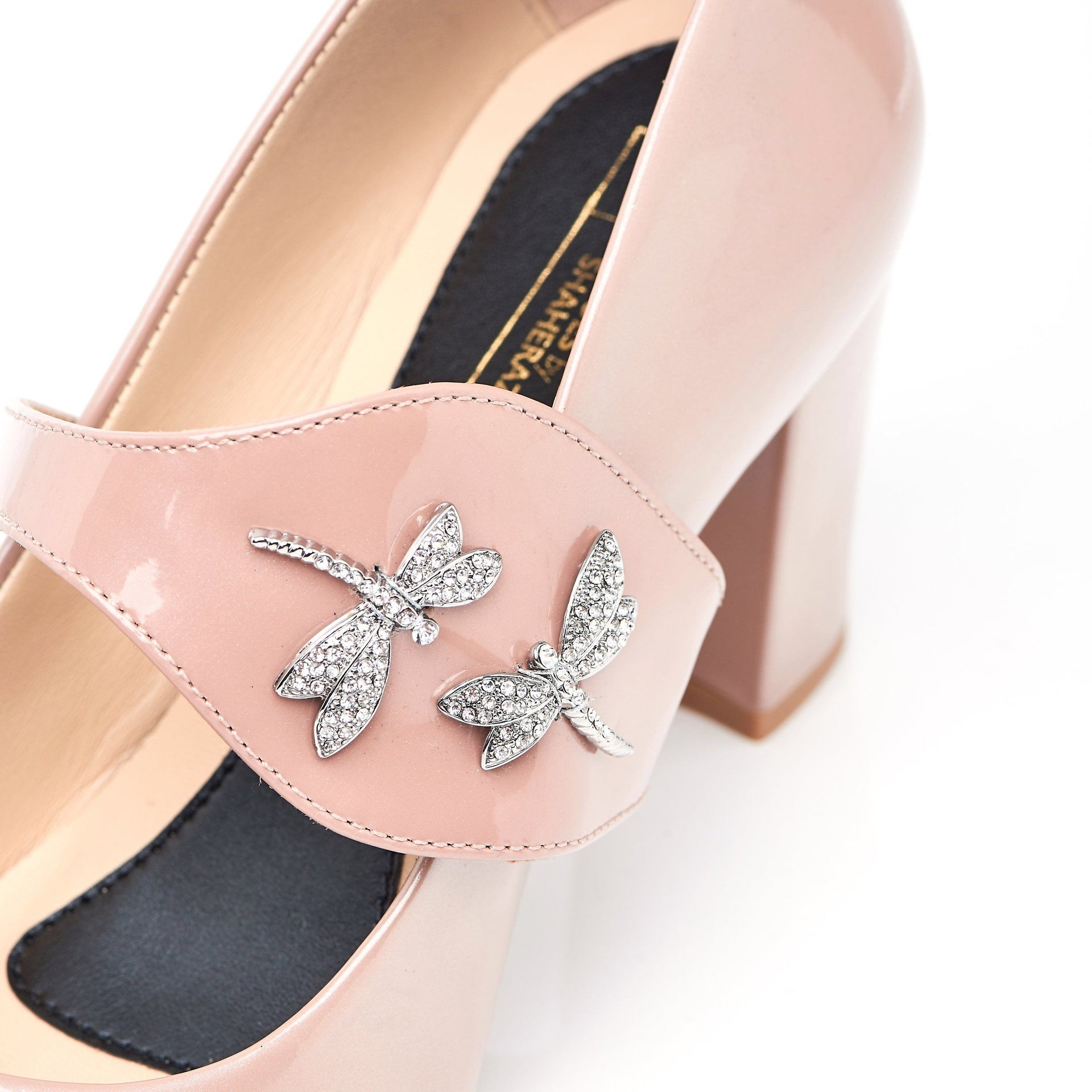 Dragonfly Nude patent block heels