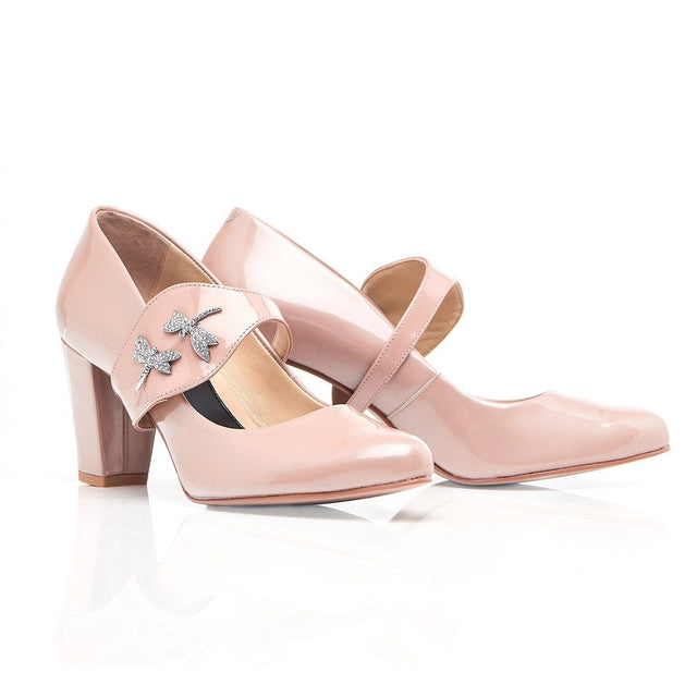 She's Unstoppable - Block Heels - Blush Leather - Shoes by Shaherazad