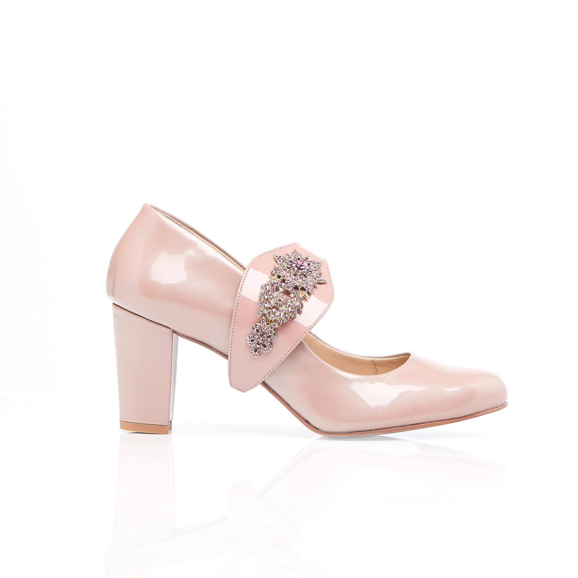 Block heel shoe with pink sparkle gems