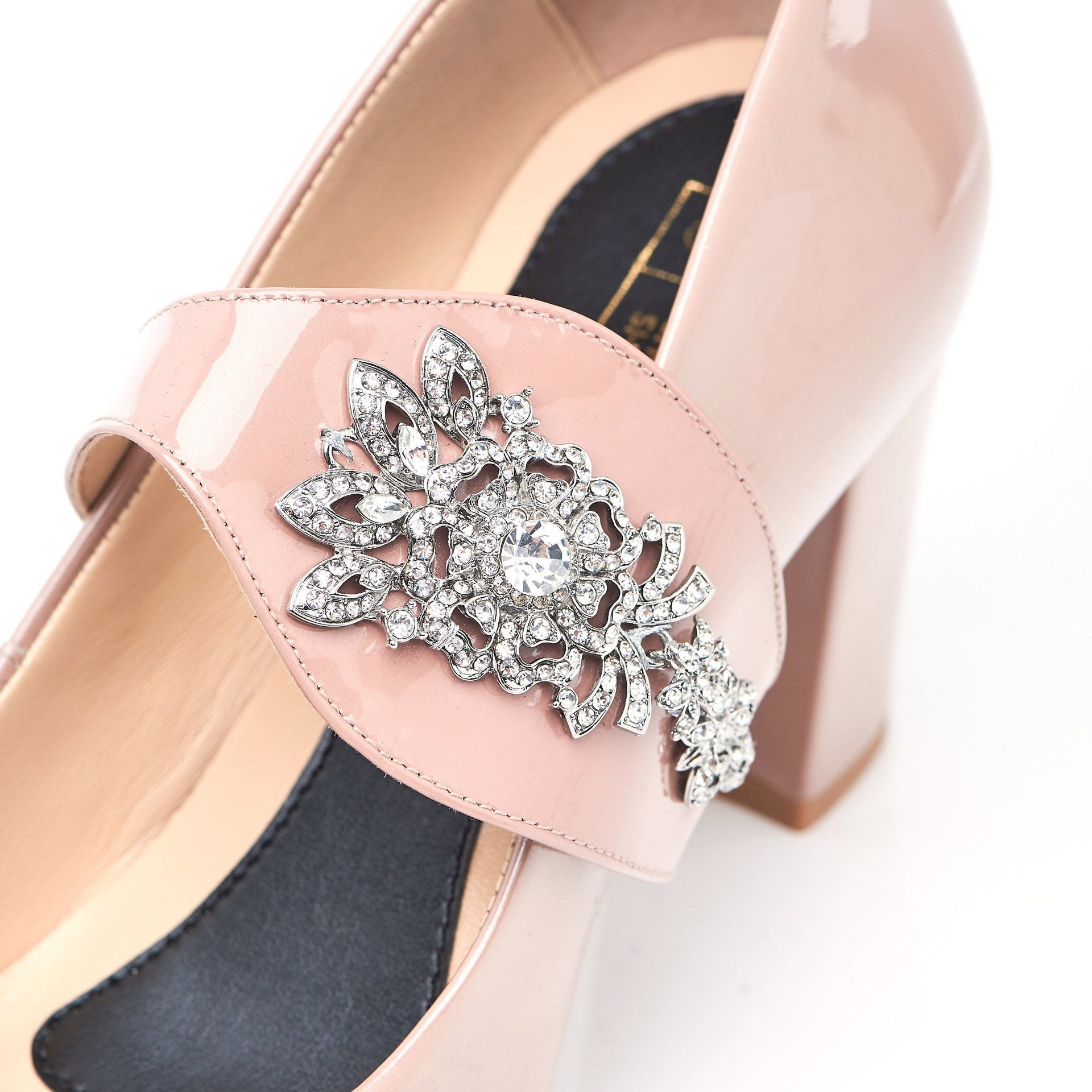 The Moon is Mine in Silver Gems - Block Heels - Blush Leather - Shoes by Shaherazad