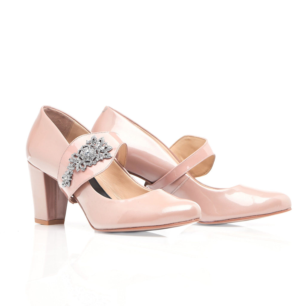 51c2b7db1a76 The Moon is Mine in Silver Gems - Block Heels - Blush Leather