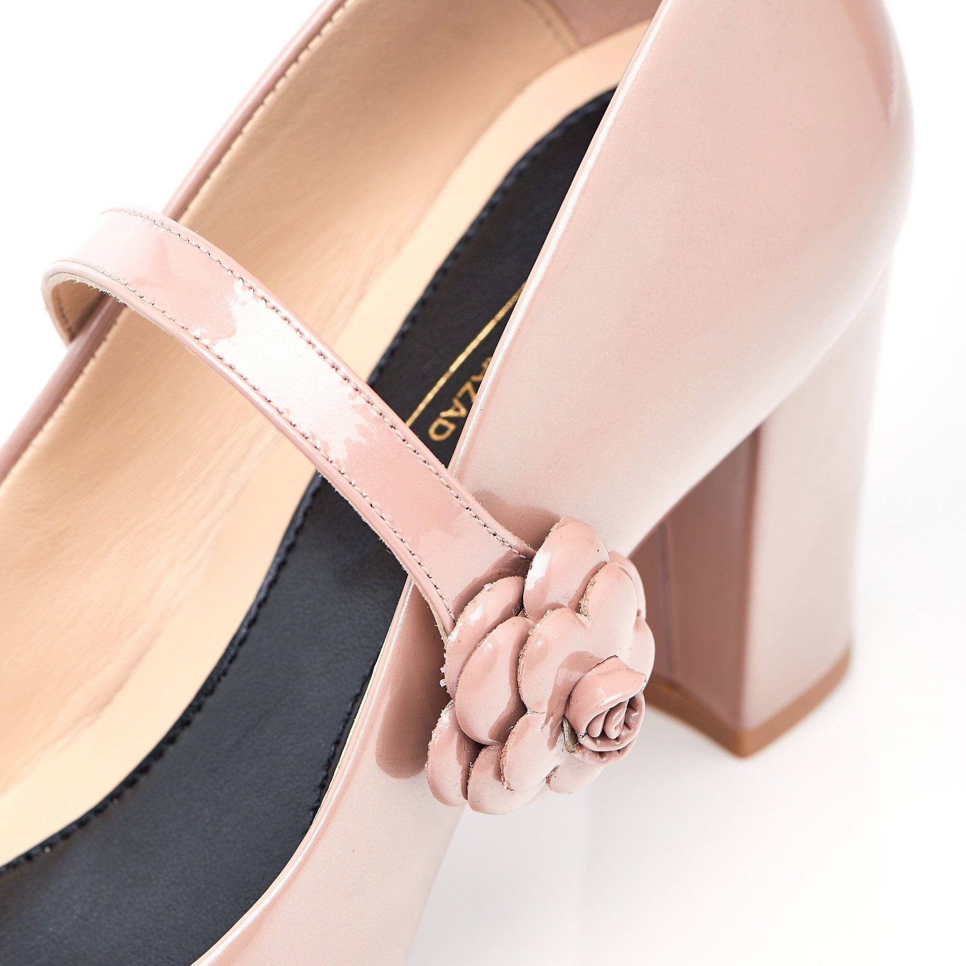 Don't Wait Up - Block Heels - Blush Leather - Shoes by Shaherazad