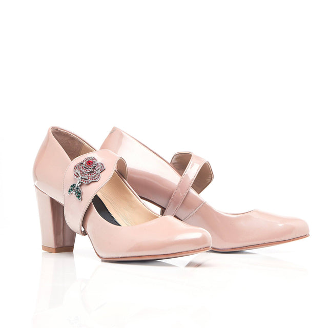 Nude Leather Heels with Rose detail
