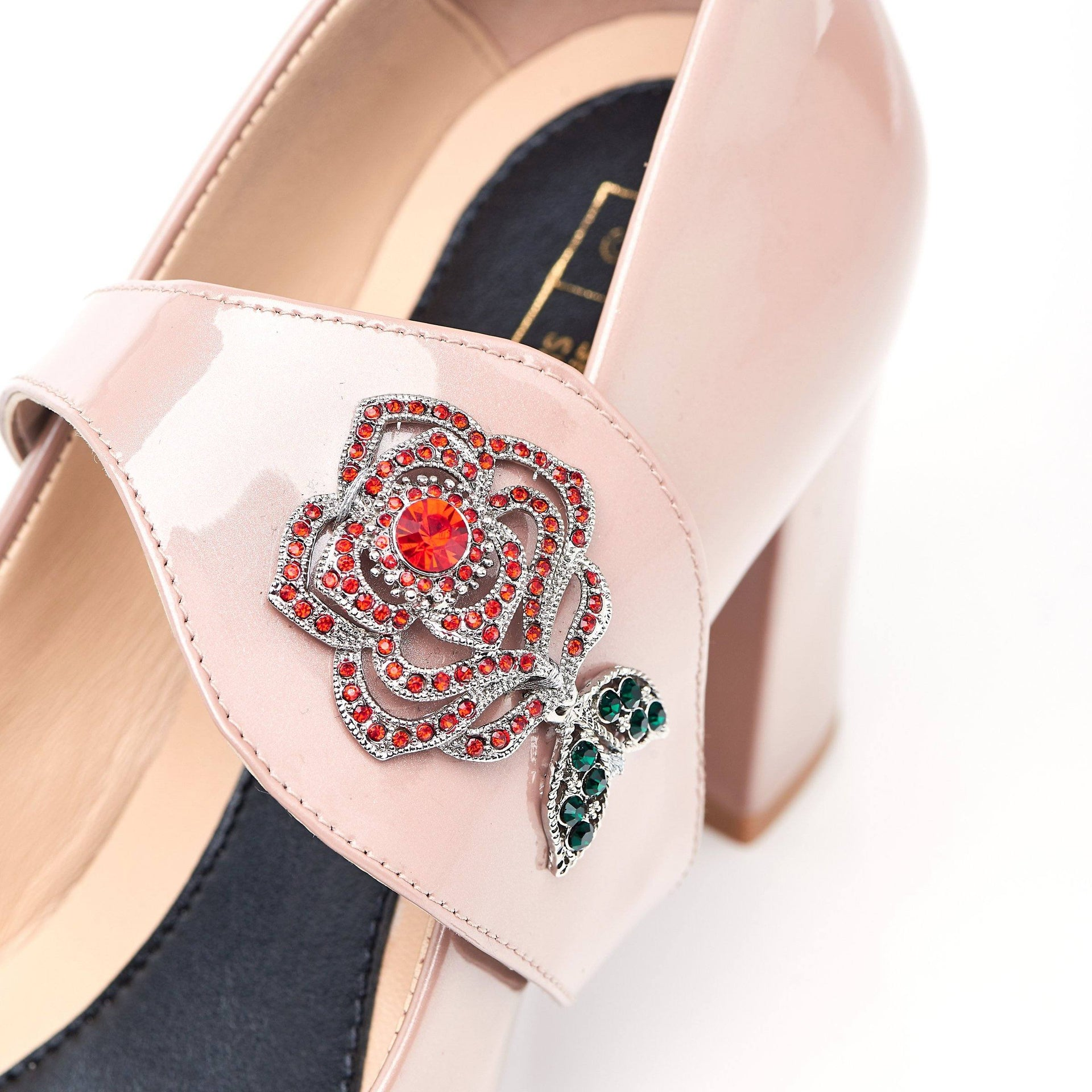 Time To Bloom - Block Heels - Blush Leather - Shoes by Shaherazad