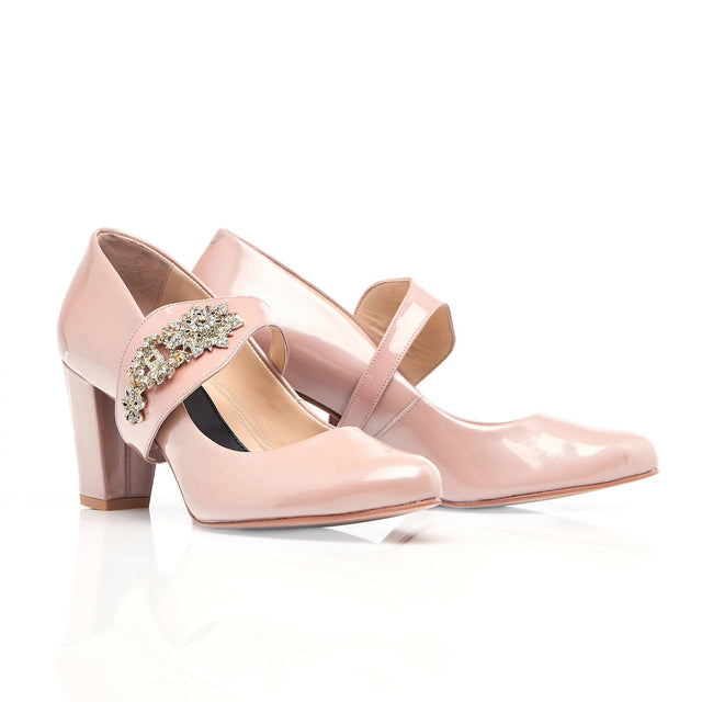 Nude block heel with gold and silver gems