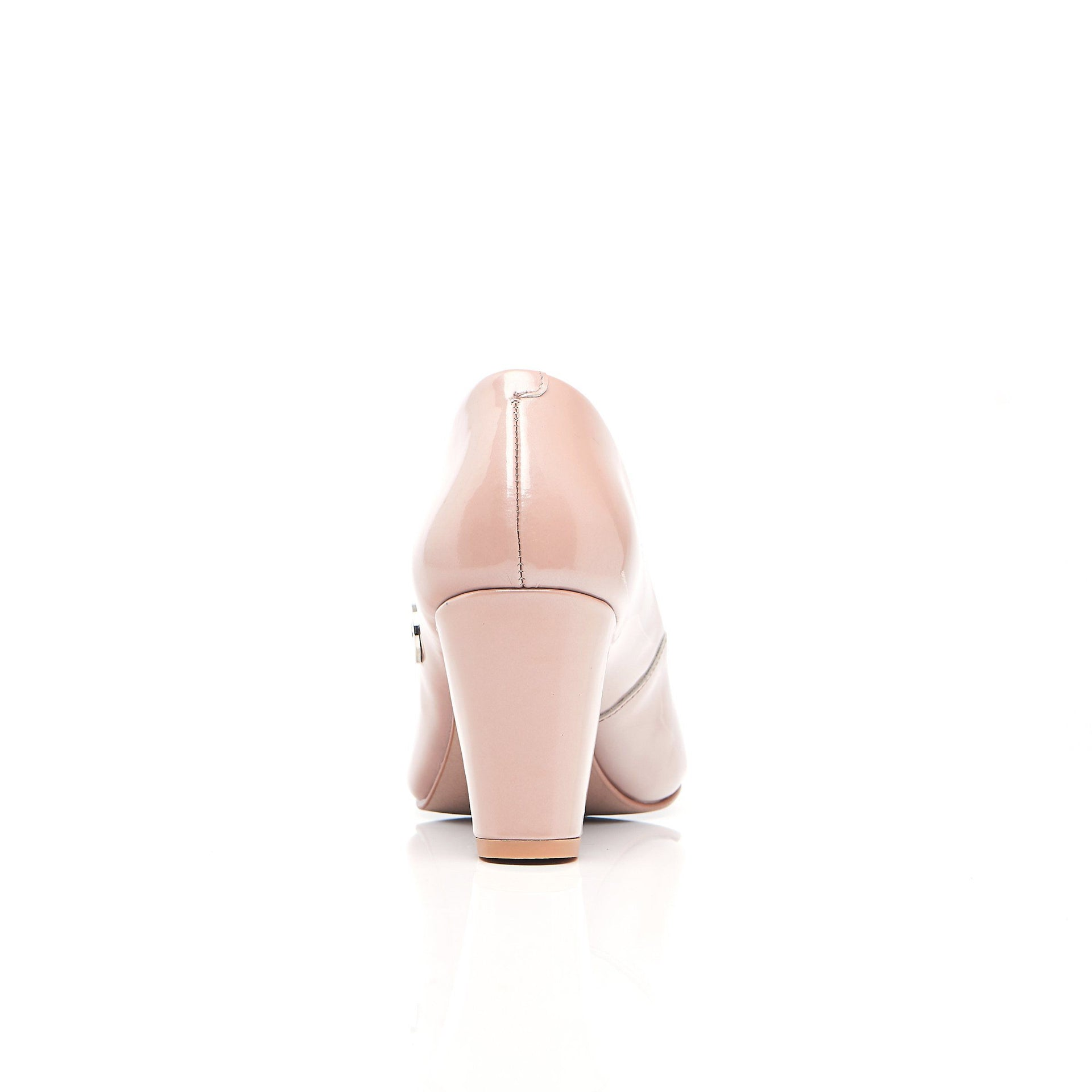 Patent Nude Leather Block Heels