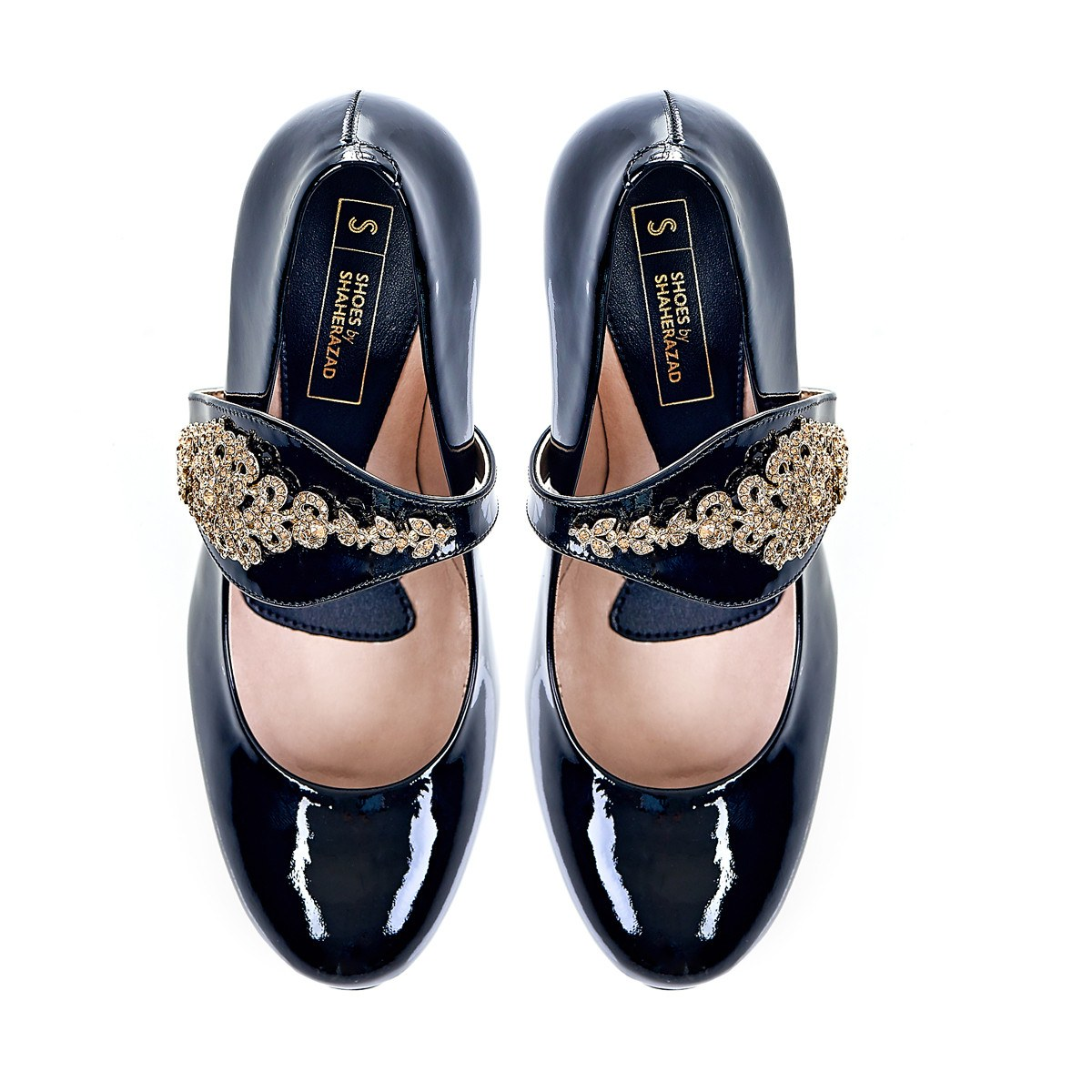 Dream Then Do in Gold Gems - 18 Hour Heels - Black Leather - Shoes by Shaherazad