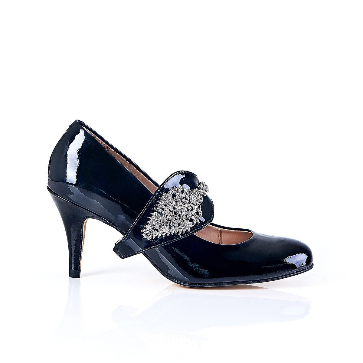Dream Then Do in Silver Gems - 18 Hour Heels - Black Leather - Shoes by Shaherazad
