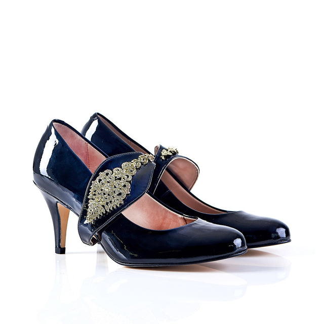 Dream Then Do in Gold - Black Pumps by Shaherazad