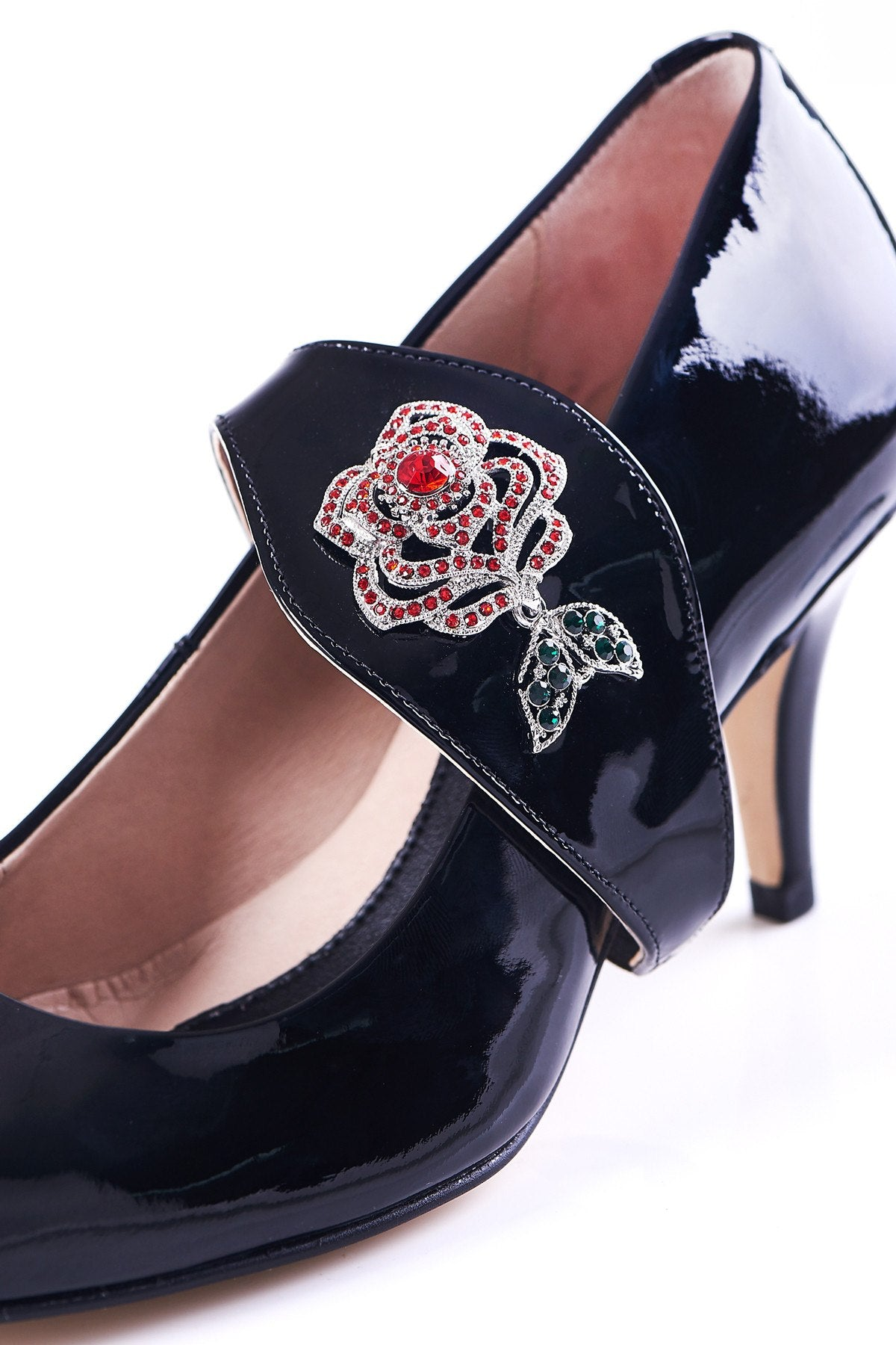 Time To Bloom - 18 Hour Heels - Black Leather - Shoes by Shaherazad