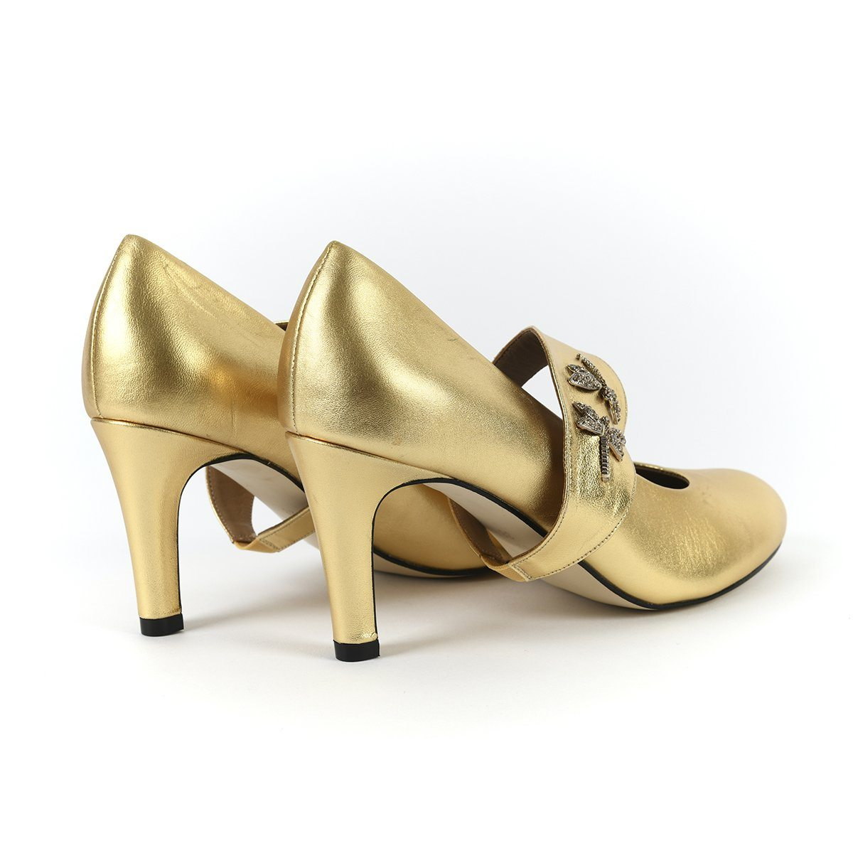 She's Unstoppable - 18 Hour Heels - Metallic Gold - Shoes by Shaherazad