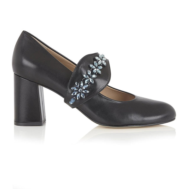 Night Sky Narcissus - Block Heels - Black Nappa Leather - Shoes by Shaherazad