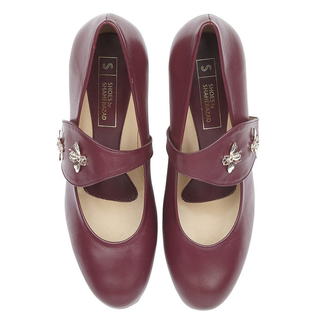 Create a Buzz - Block Heels - Plum Nappa Leather - Shoes by Shaherazad