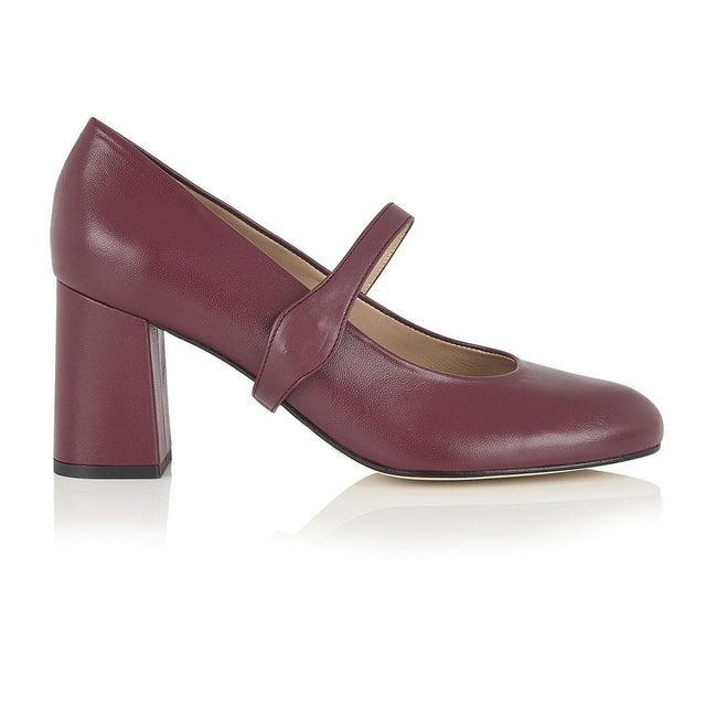 Take My Lead - Block Heels - Plum Nappa Leather - Shoes by Shaherazad