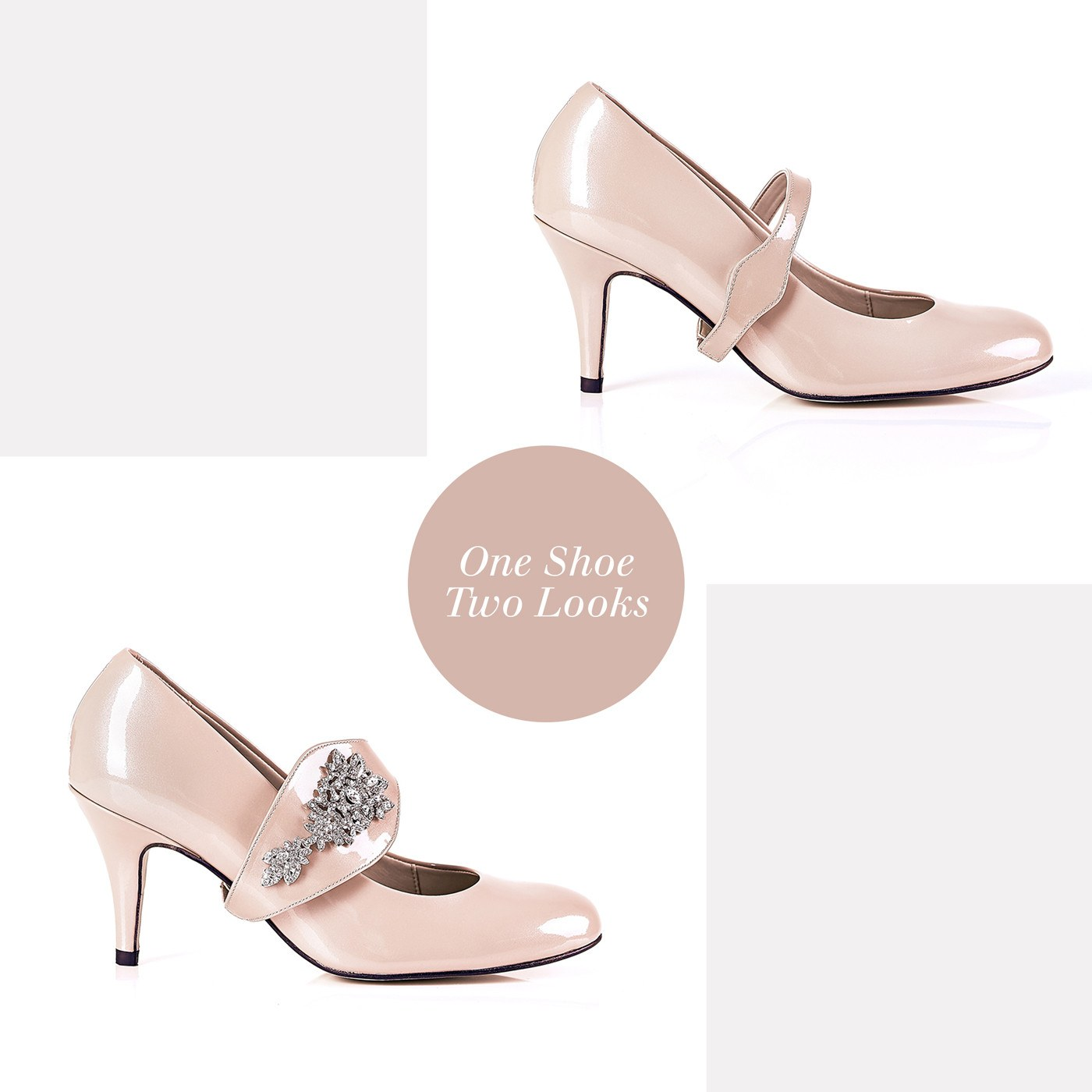 The Moon is Mine in Silver Gems - 18 Hour Heels - Blush Leather - Shoes by Shaherazad