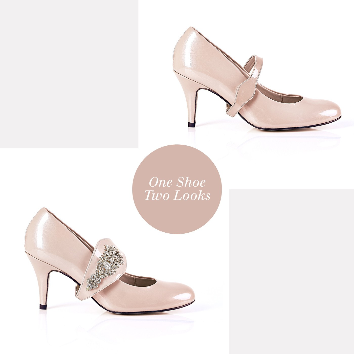 Equally Ever After in Gold Gems - 18 Hour Heels - Blush Leather - Shoes by Shaherazad