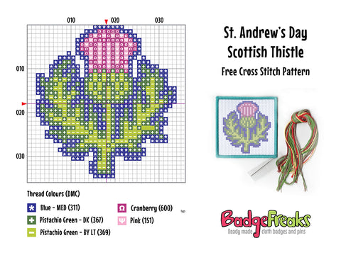 St Andrew's Day Thistle Free Cross Stitch Pattern