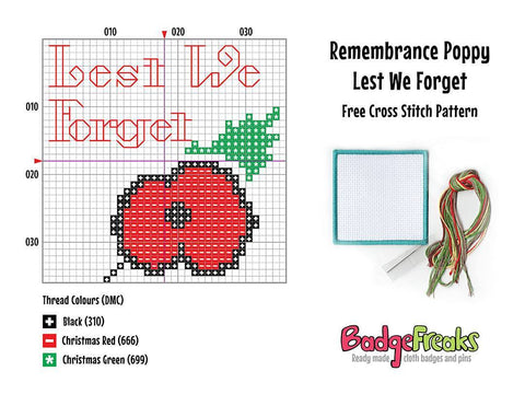 Free Remembrance Poppy Cross Stitch Pattern