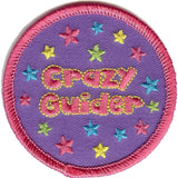 Embroidered circular badge with the words 'Crazy Guider'