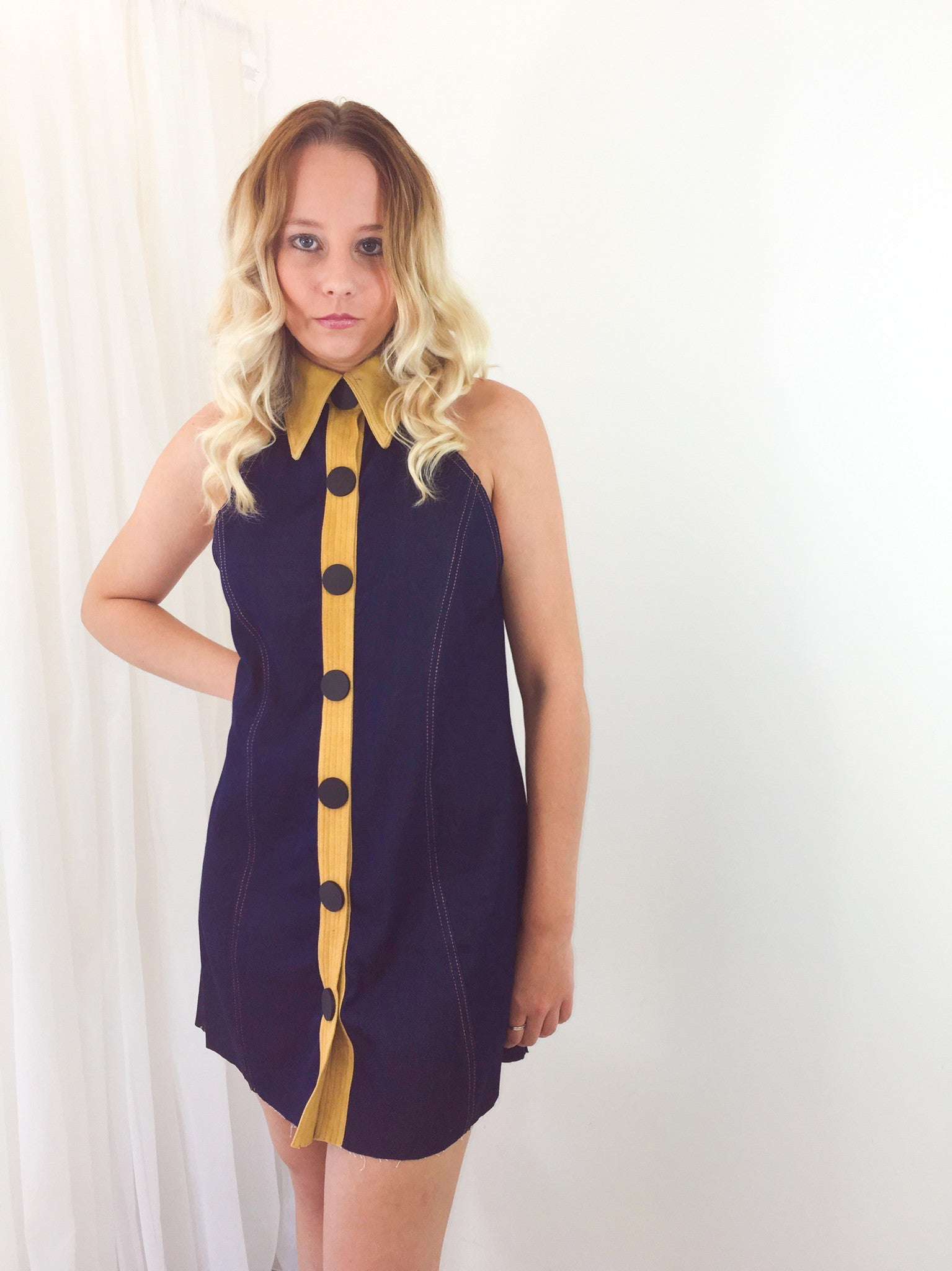 A Line Button Up Denim Dress