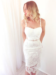 White Lace Midi Skirt and Crop Two Piece Set