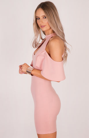 Cara Cutout Shoulder Frill Bodycon