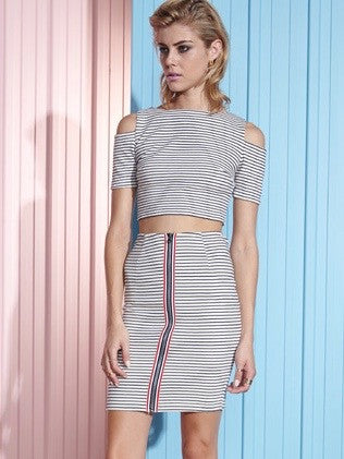 SHAKUHACHI NAVY STRIPE ZIP FRONT TUBE SKIRT