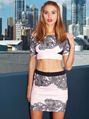Paint It Red Full Hearts Pink and Black Mini Skirt Off The Shoulder Crop Top