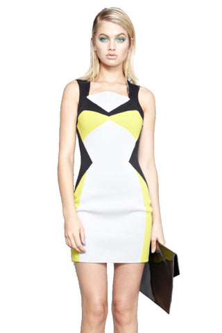 AQUATIC BUSTIER FITTED DRESS LEMON