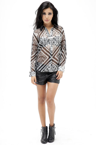 Deco Print Sheer Shirt