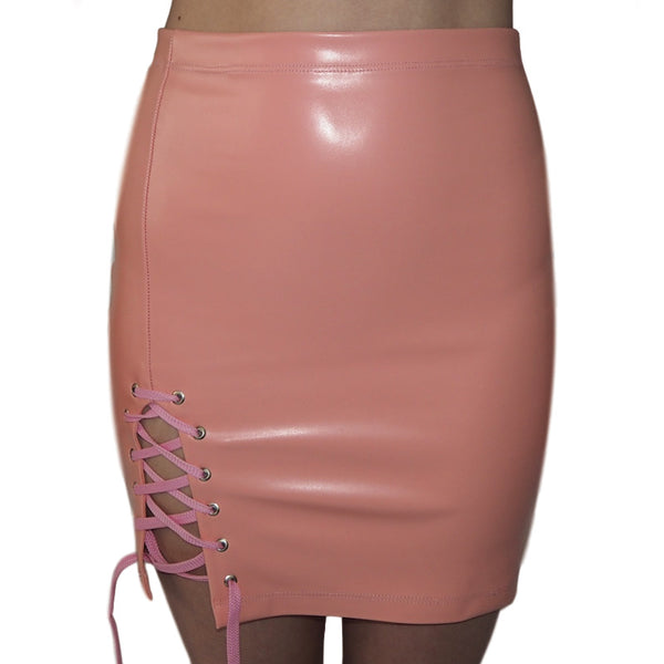 Pink Lace up stretch skirt