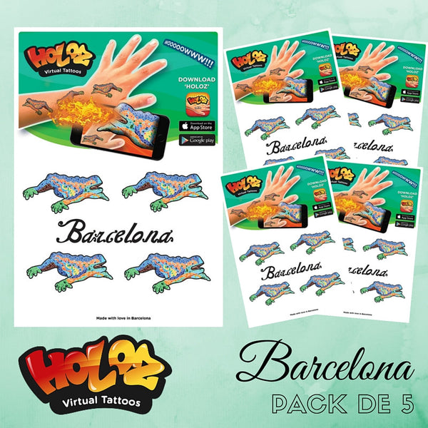 Barcelona Limited Edition, 20 tattoos con realidad aumentada - Pack de 5