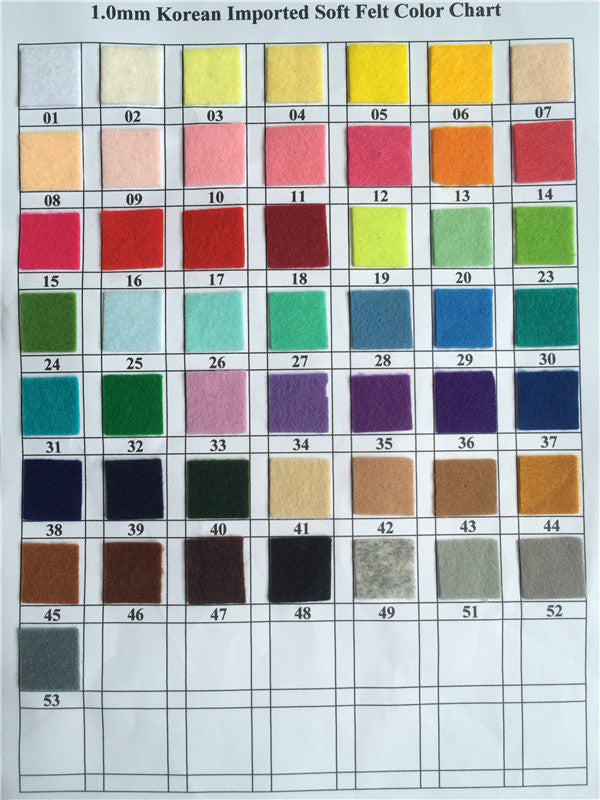 1.0mm soft felt color chart