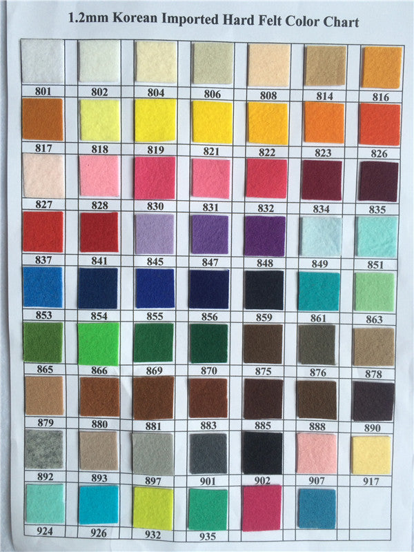 1.2mm hard felt color chart