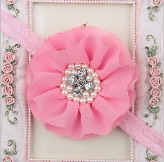 Baby Chiffon Flower Headband with Pearls