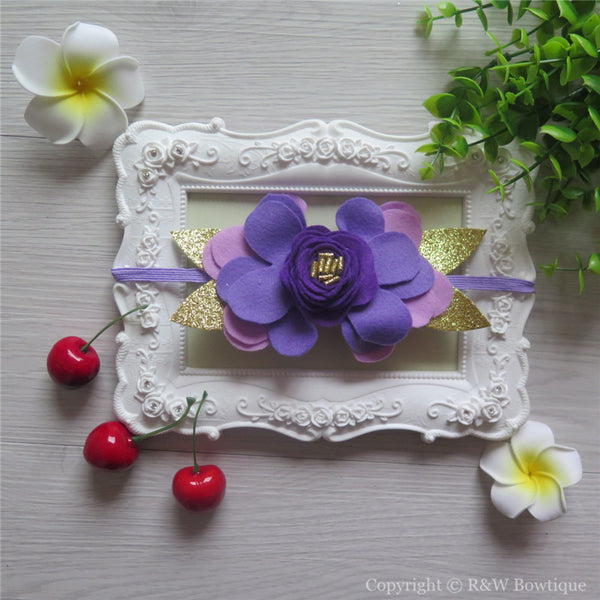 Purple and Gold Felt Flower Crown Headband