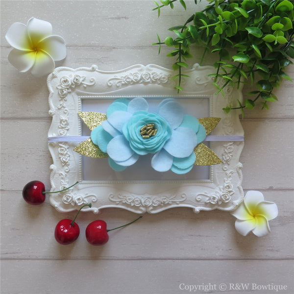 Mint Juliep Felt Flower Crown Headband