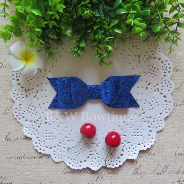 Royal Blue Glitter Fabric Oversized Hair Bow
