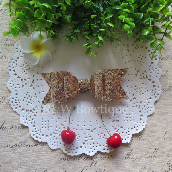 Pale Gold Glitter Fabric Oversize Hair Bow