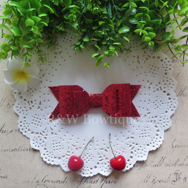 Red Glitter Fabric Oversize Hair Bow