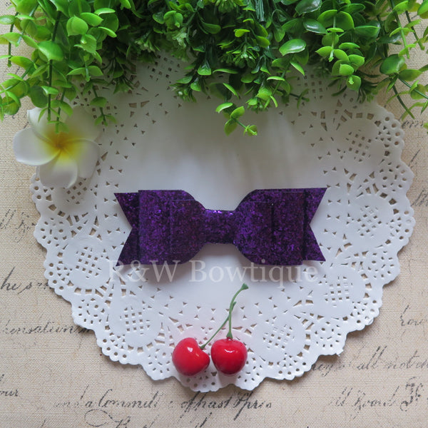 Purple Glitter Fabric Oversize Hair Bow